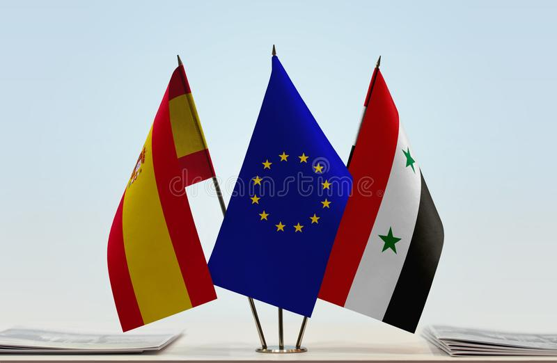 Flags of Spain EU and Syria. Desktop flags of Spain and Syria with European Union flag in the middle stock illustration