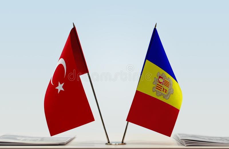 Flags of Turkey and Andorra. Desktop flags of Turkey and Andorra on bright background vector illustration