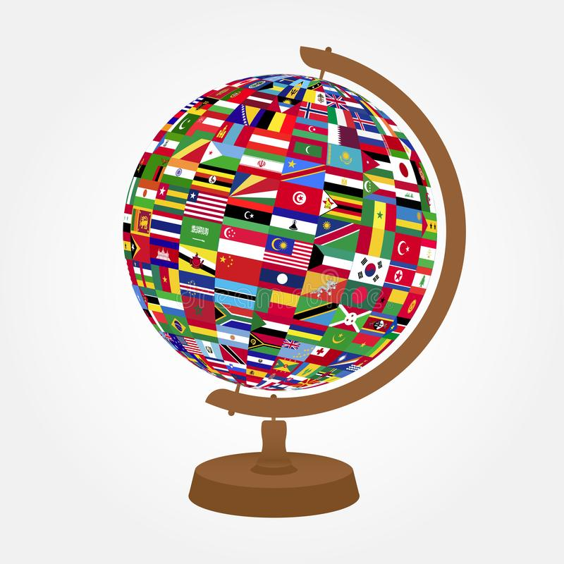 Desktop globe with flags on white background. Color vector illustration.  royalty free illustration
