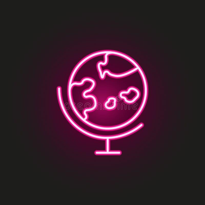 Desktop-Globus-Symbol im Neonstil Einfache dünne Linie, Konturvektor für Bildungs-Icons für i und ux, Website oder mobile Anwendu stock abbildung