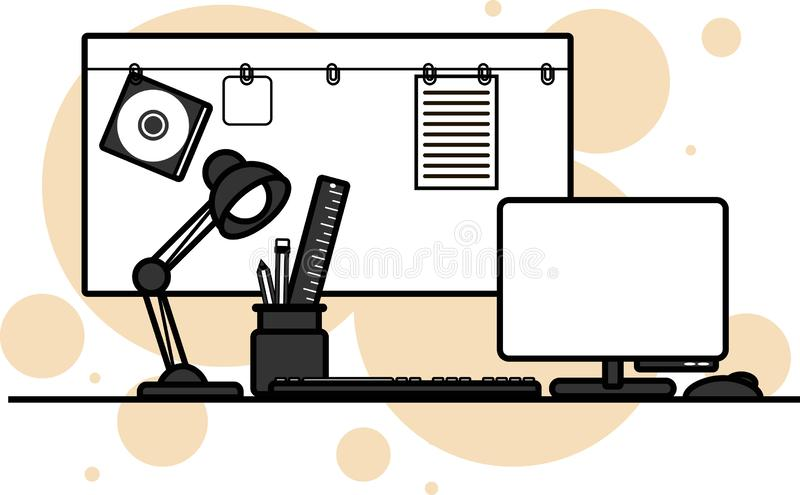 Desktop graphic designer, workplace, character set, gray tones, vector illustration. royalty free stock image