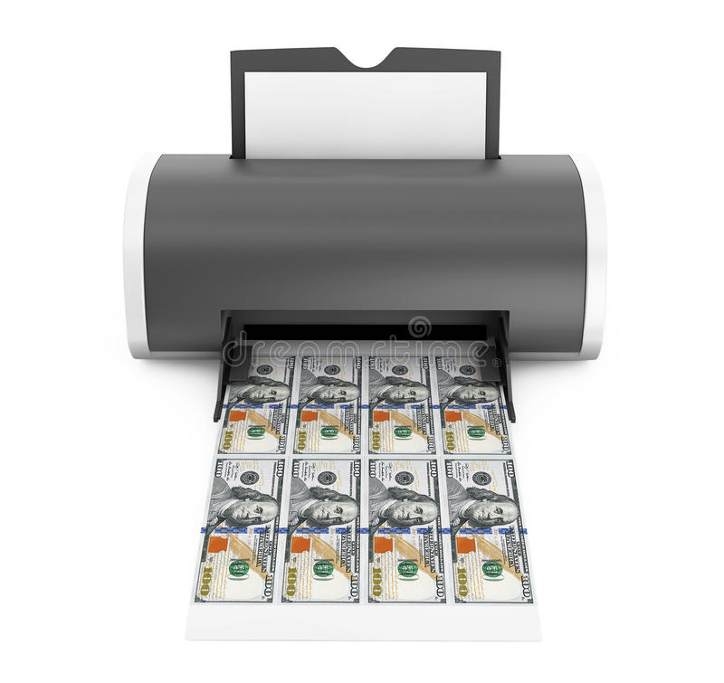 Desktop Home Printer Printed Money. 3d Rendering. Desktop Home Printer Printed Money on a white background. 3d Rendering vector illustration