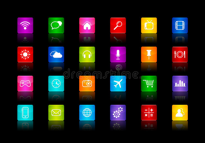 Desktop Icons collection. Isolated on a black background royalty free illustration