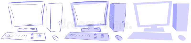 Desktop isolado dos computadores em tons azuis ilustração do vetor
