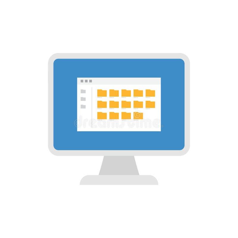 Desktop komputer z falcówki ikoną royalty ilustracja