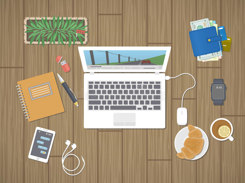 Desktop with laptop running the media player, personals, phone with messages, smart watch, headphones, notepad, tea, croissant. Relaxation, worktop, break royalty free illustration
