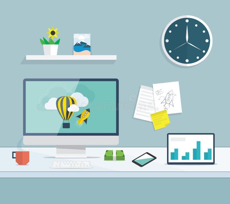 Desktop liso do desenvolvimento da Web e do projeto gráfico ilustração do vetor