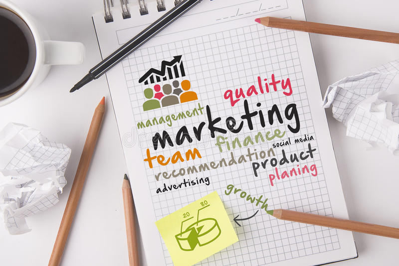 Desktop marketing concept stock images