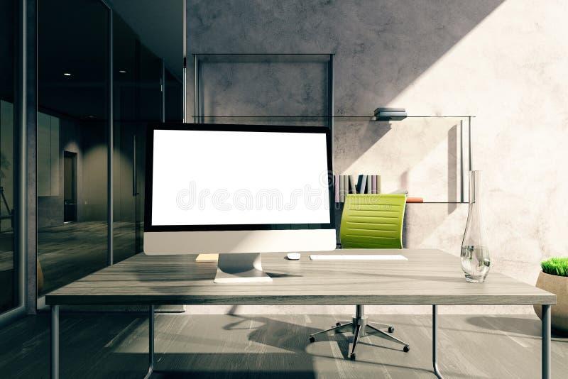 Desktop mit Schirm im Büro lizenzfreie abbildung