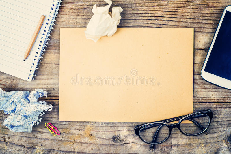 Desktop mix on a wooden office table. royalty free stock photography