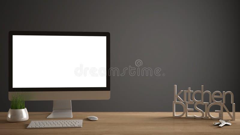 Desktop mockup, szablon, komputer na drewnianym pracy biurku z pustym ekranem, domów klucze, 3D pisze list robić słowom kuchennem ilustracji