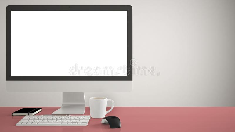 Desktop mockup, template, computer on red pantone colored work desk with blank screen, keyboard mouse and notepad with pens and pe stock photo