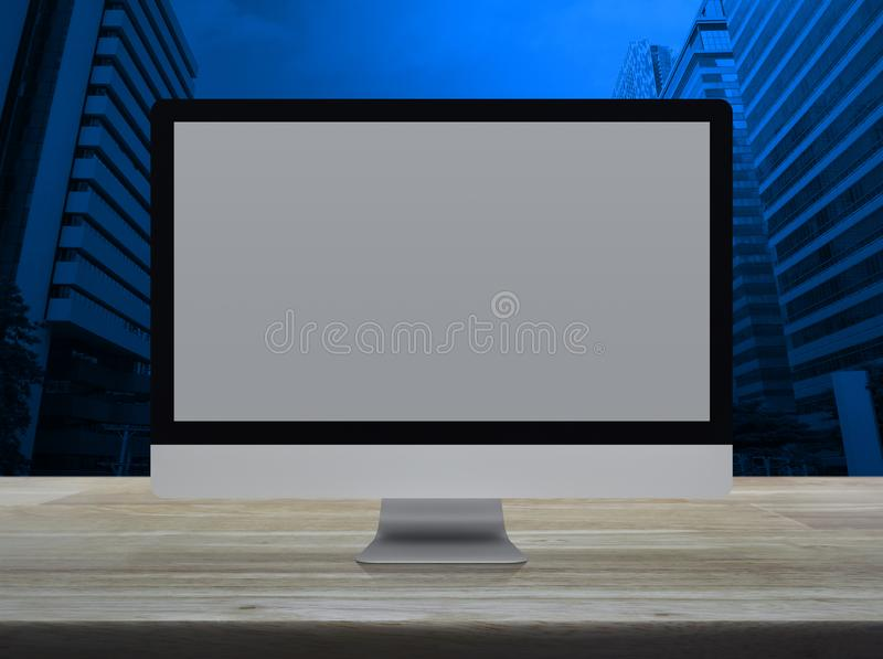 Desktop modern computer monitor with white screen on wooden table over modern office city tower and skyscraper. Desktop modern computer monitor with white wide vector illustration
