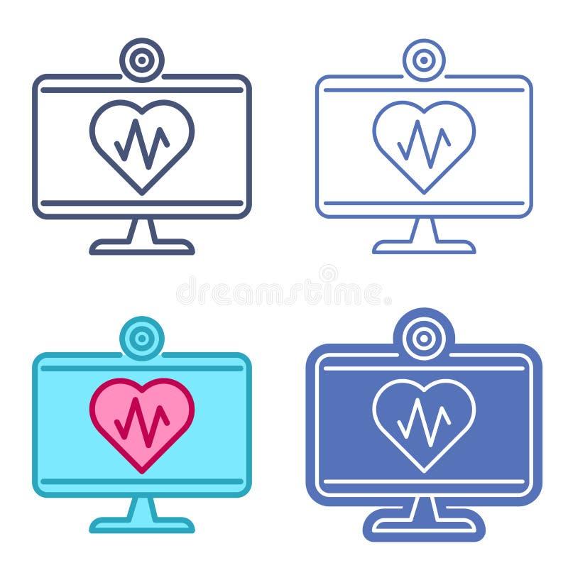 Desktop monitor with heart symbol. Telemedicine vector outline i. Desktop computer monitor and heart symbol with pulse line inside. Vector outline icon set vector illustration