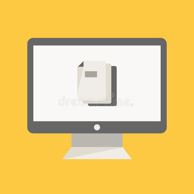 Desktop monitor vector illustration with file document piles inside it. File management flat icon design element vector illustration