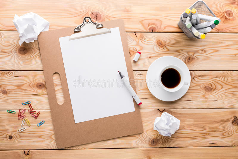 Desktop with paper and coffee stock image