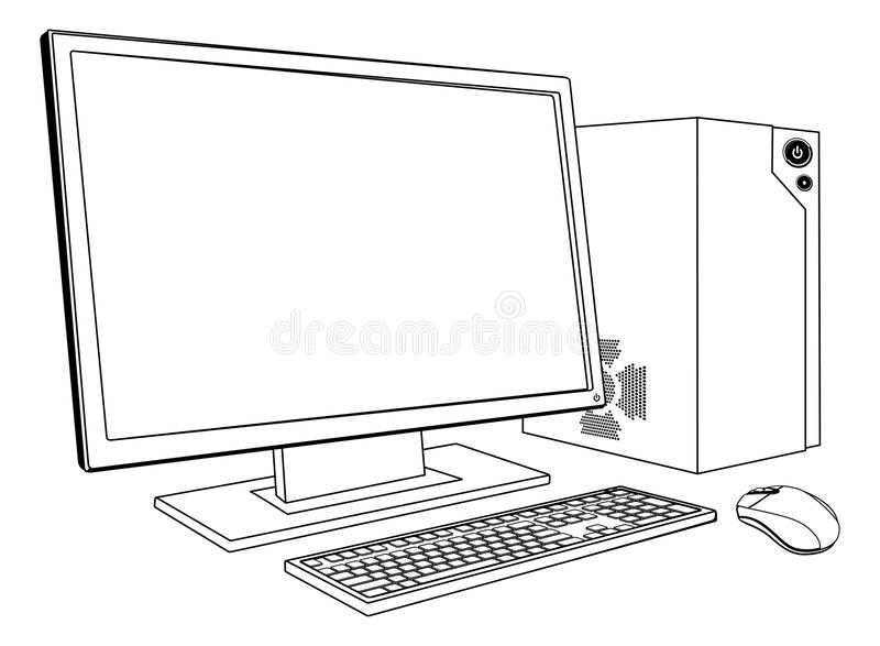 Desktop PC computer workstation. A black and white illustration of desktop PC computer workstation. Monitor, mouse keyboard and tower royalty free illustration