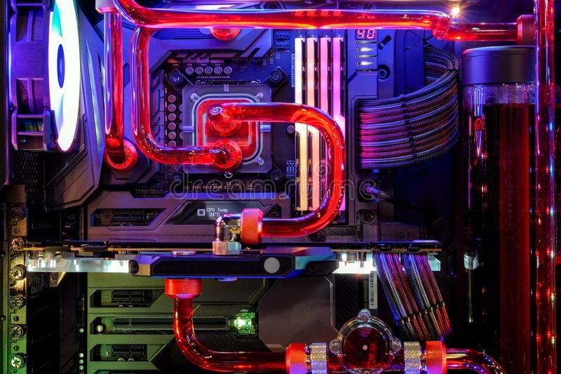 Desktop PC Gaming and water cooling cpu with LED RGB light show status on working mode. Close-up Desktop PC Gaming and water cooling cpu with LED RGB light show royalty free stock photos