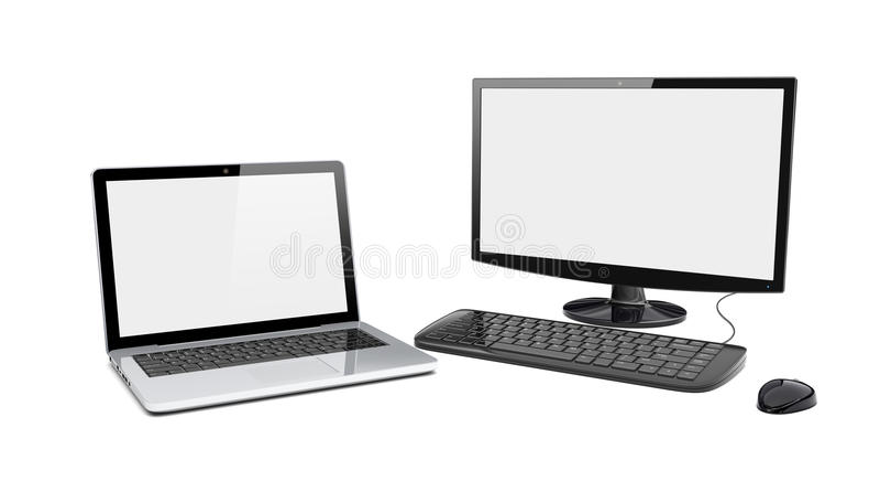 Desktop pc and laptop vector illustration