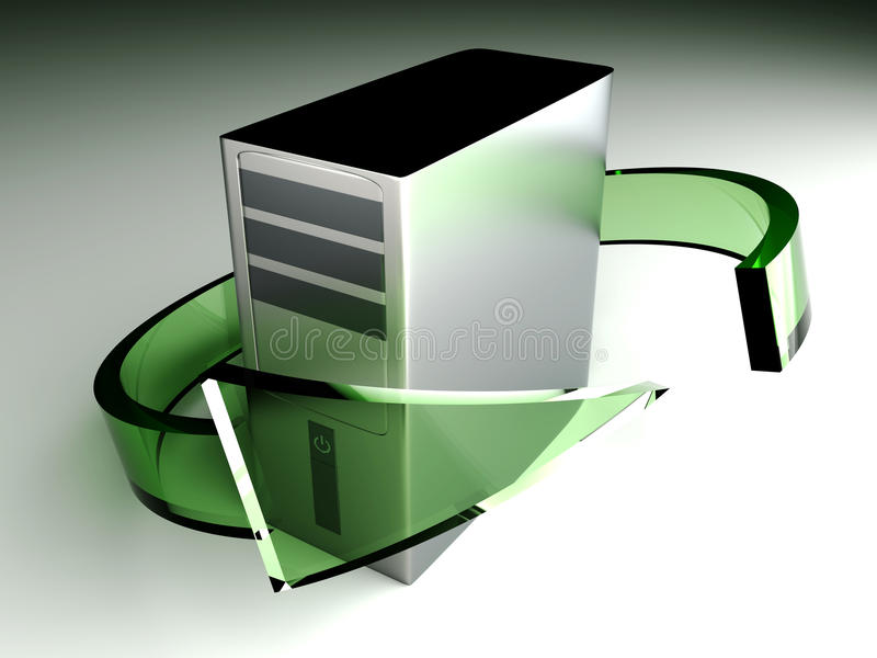 Desktop PC Recycling. 3D rendered Illustration. Desktop PC Recycling royalty free illustration