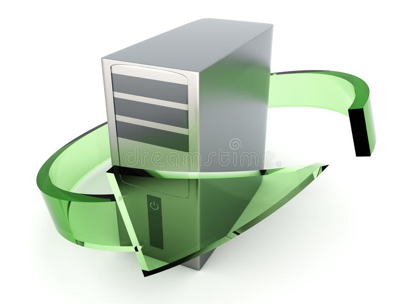 Desktop PC Recycling. 3D rendered Illustration. Recycling / renewing old computers. Isolated on white royalty free illustration