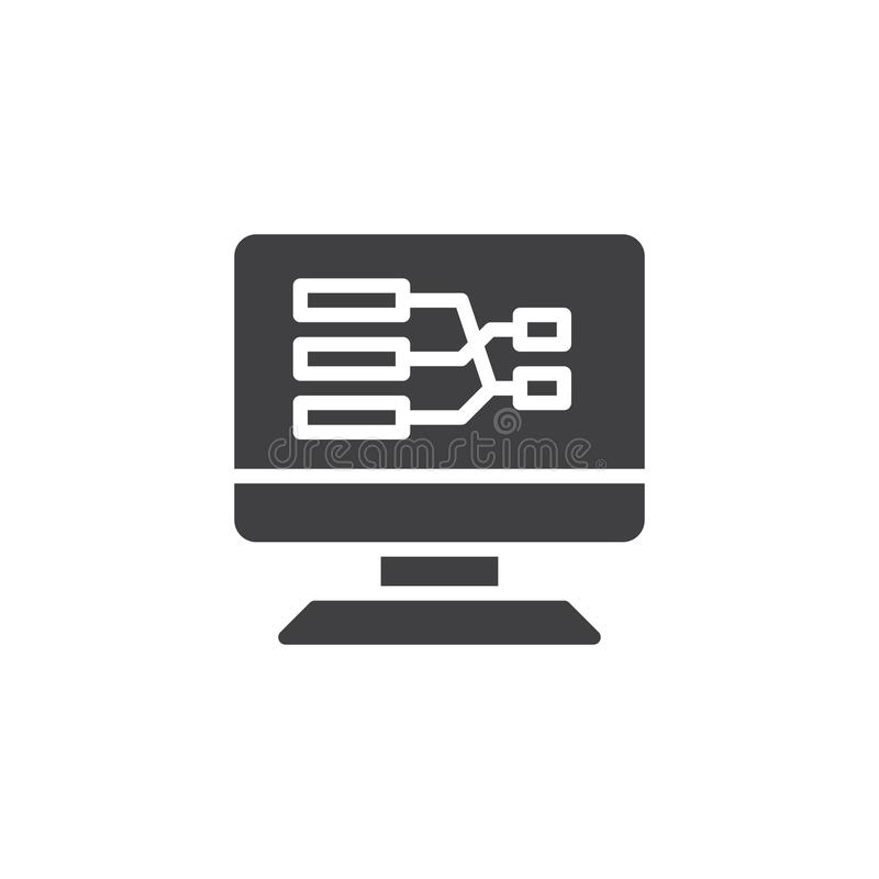 Desktop pc screen with flow chart vector icon royalty free illustration