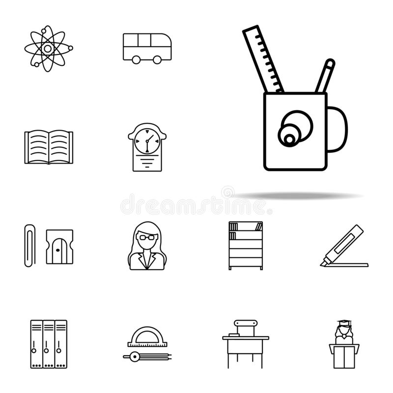 Desktop pencil case icon. education icons universal set for web and mobile. On white background stock illustration