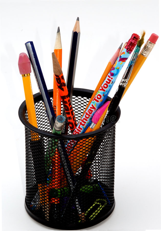 Desktop pencil holder stock photography