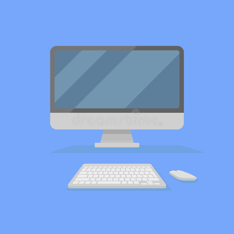 Desktop personal computer with monitor, keyboard and mouse isolated on blue background. Front view. Flat style icon. royalty free illustration