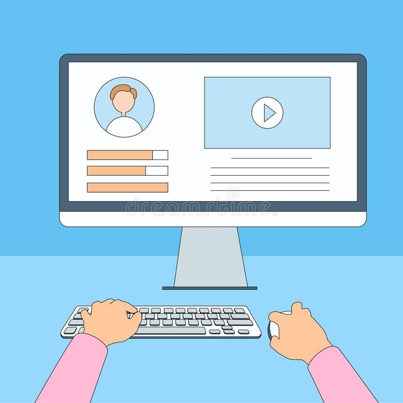 Desktop ręk typ Pracuje Używać komputer Cienką linię ilustracja wektor