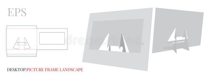 Desktop Ramowy szablon, obrazek rama, wektor z kostką do gry ciącą, laseru cięcia warstwą/ Biel, jasny, puste miejsce, odoso ilustracja wektor