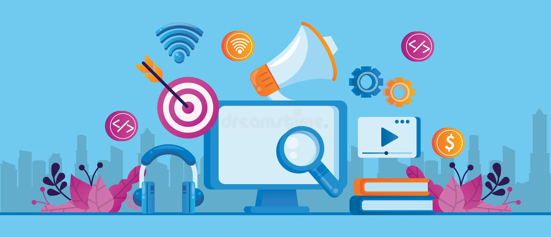 Desktop with social media marketing icons 向量例证