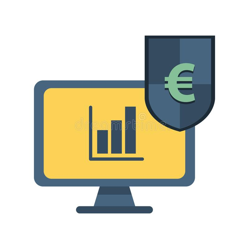 Desktop with statistics bars and shield euro stock illustration