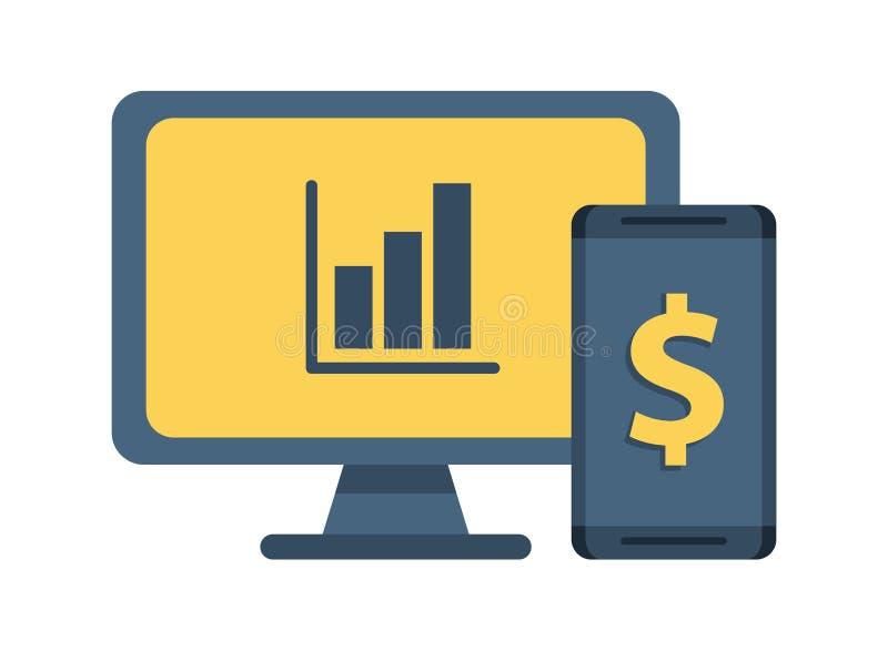Desktop with statistics bars and smartphone vector illustration