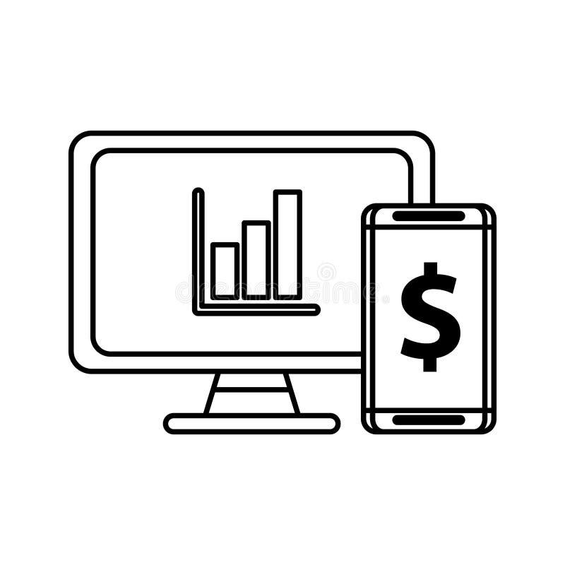 Desktop with statistics bars and smartphone royalty free illustration