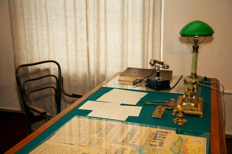 Desktop in the study of the dictator. Museum office of the leader of the Russian and the world proletarian revolution, the founder of the USSR Vladimir Illich stock image