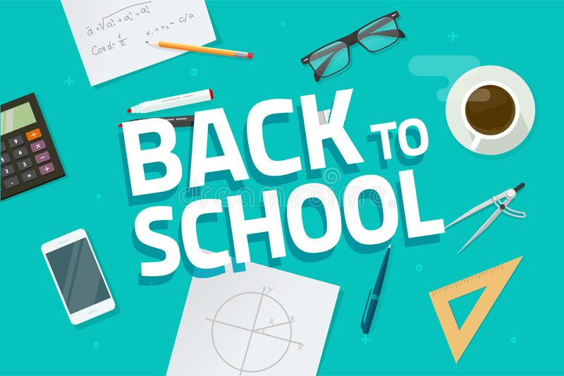 Desktop or table top view with back to school text vector illustration, flat cartoon lay of workplace desk with pencil stock illustration