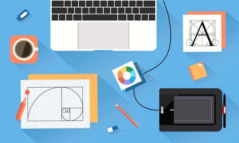 Desktop van ontwerper vectorart. royalty-vrije stock foto