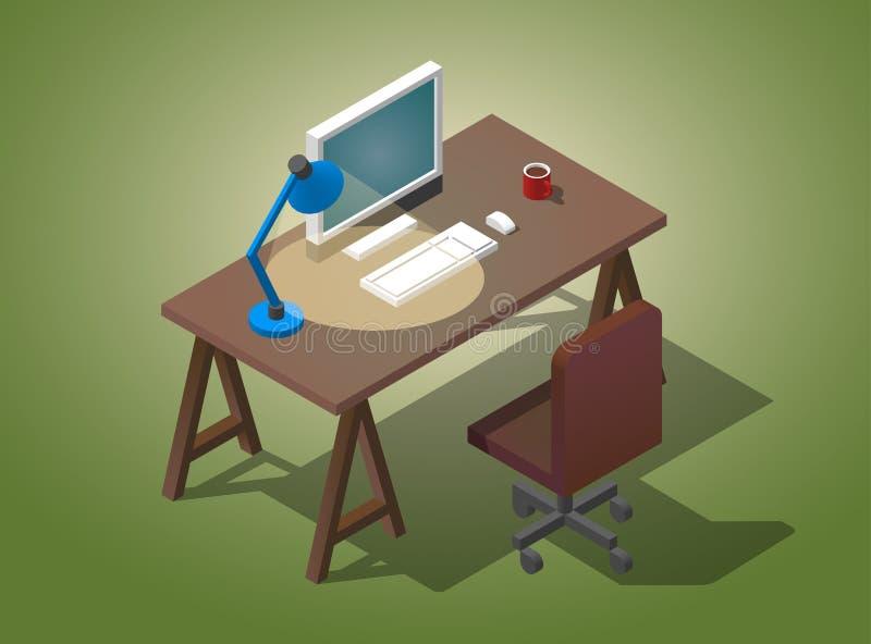 Desktop vazio para o homem de negócios Ilustração isométrica do vetor Uma tabela com um computador, uma xícara de café, um candee ilustração do vetor