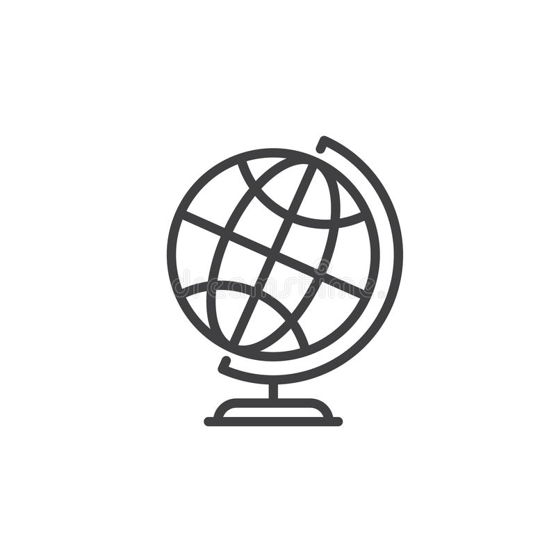 Desktop world earth globe line icon, outline vector sign, linear style pictogram isolated on white royalty free illustration