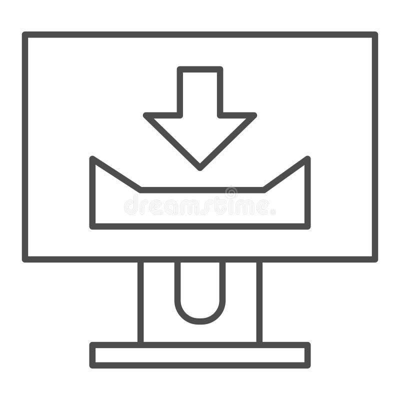 Desktopmonitor met dun de lijnpictogram van het downloadteken Het computerscherm met download vectordieillustratie op wit wordt g stock illustratie