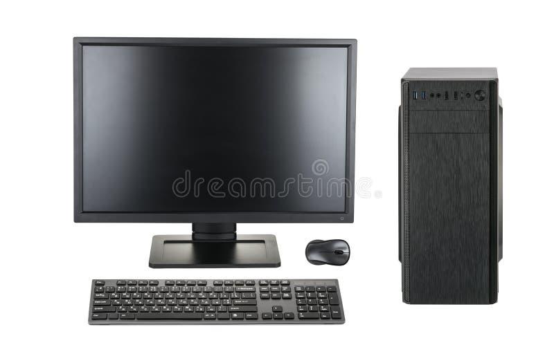 Desktoppc bureaucomputer op een witte achtergrond het knippen weg wordt geïsoleerd die stock foto