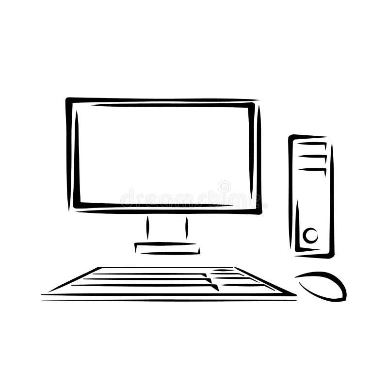 Desktoppc met toetsenbord en muis Vector illustratie stock afbeeldingen