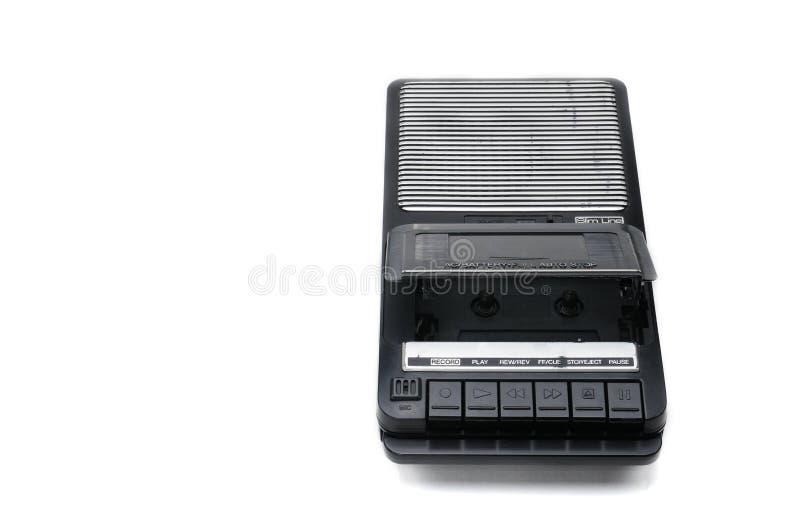 Desktoptype cassetterecorder de van weleer op geïsoleerd wit backgr stock afbeeldingen