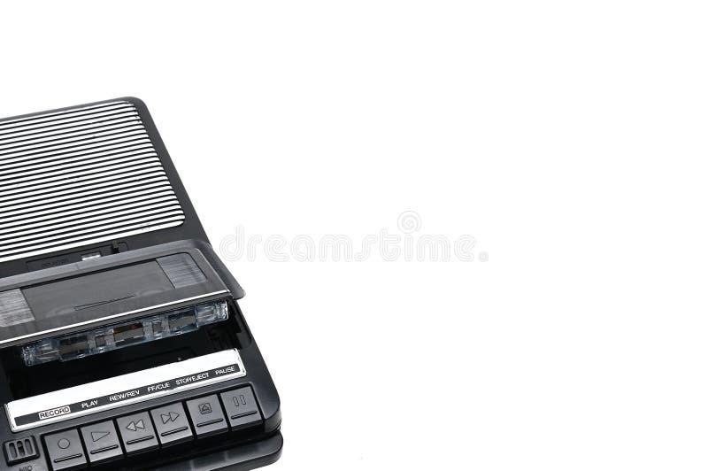 Desktoptype cassetterecorder de van weleer op wit geïsoleerde achtergrond stock foto
