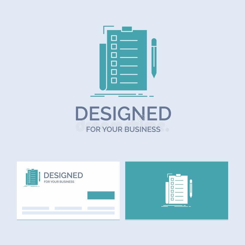 deskundigheid, controlelijst, controle, lijst, documentzaken Logo Glyph Icon Symbol voor uw zaken Turkooise Visitekaartjes met Me stock illustratie