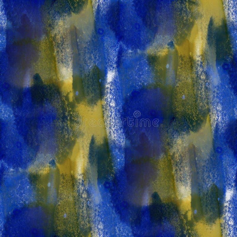 Deslúmbrese de textura inconsútil de la acuarela azul amarilla de la pintura con los puntos y raya arte ilustración del vector