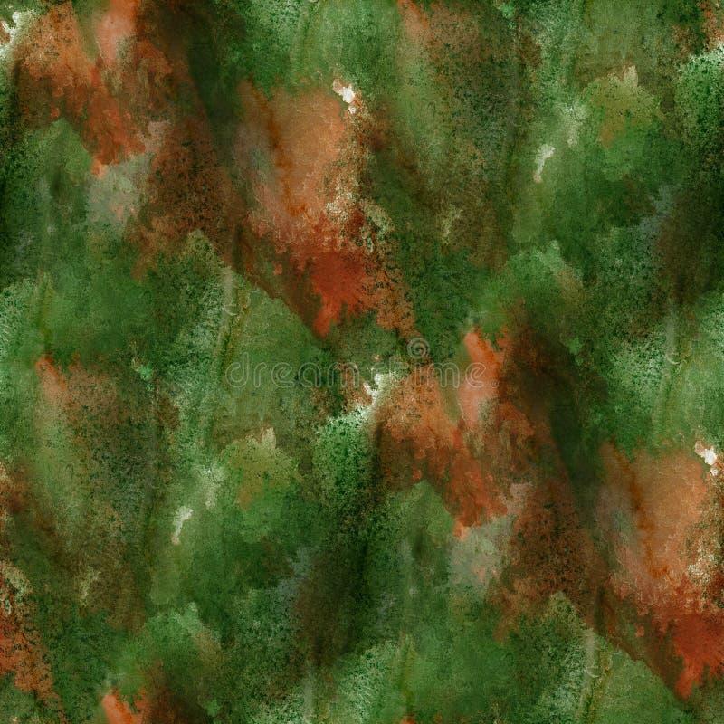 Deslúmbrese de textura inconsútil de la acuarela de la pintura con las manchas marrones verdes y raya arte libre illustration