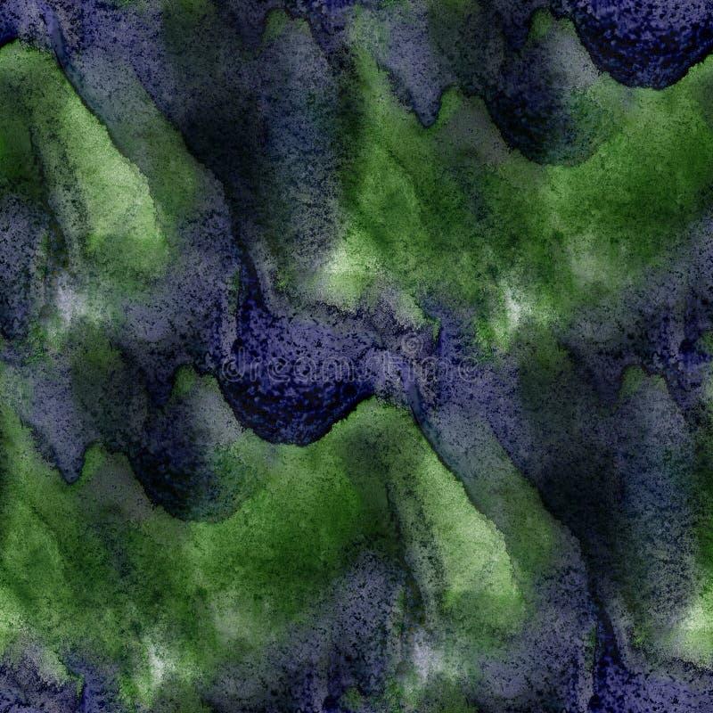 Deslúmbrese de textura púrpura verde inconsútil de la acuarela de la pintura con los puntos y raya arte ilustración del vector