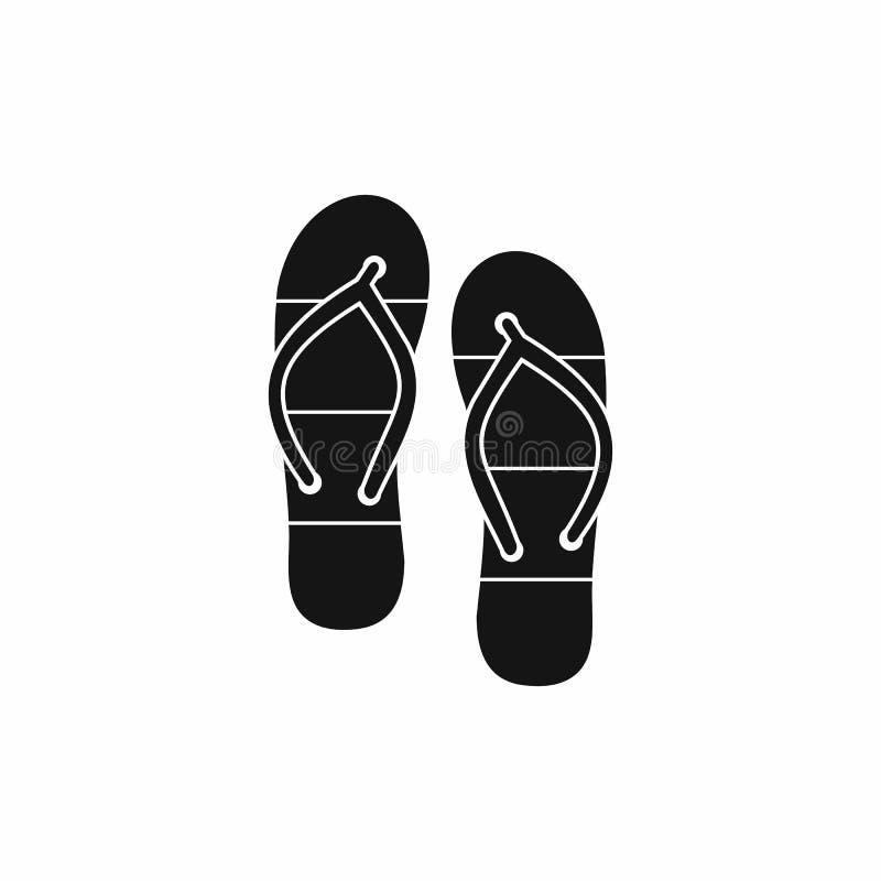 Deslizadores do verão para o ícone da praia, estilo simples ilustração stock